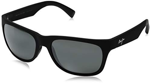 Maui Jim Kahi 736-02MR | Polarized Matte Black Soft Touch Wrap Frame Sunglasses, Neutral Grey Lenses, with with Patented PolarizedPlus2 Lens Technology ()