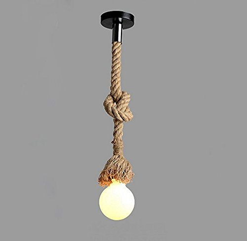 (Borang 1m Single Head Vintage Thick Hemp Rope Industrial Ceiling Light Pendant E27 Base Lamp Cord)