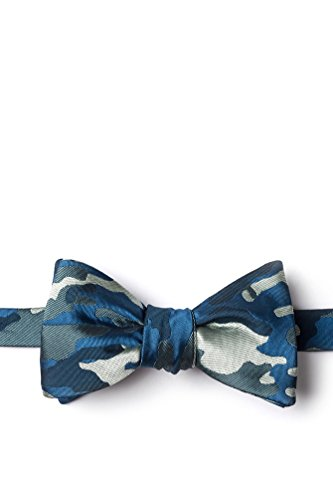 Woodland Camo Navy Blue Microfiber Bow -