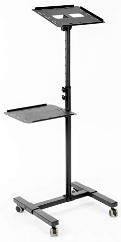 VIVO Black Mobile Rolling Projector Stand | Height Adjustable Projector and Laptop Trolley Presentation Cart (CART-V04C)