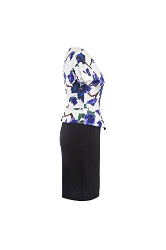 Frauen 1940er Jahre Vintage Fake 2 Stücke Colorblock figurbetonten Peplum Kleid