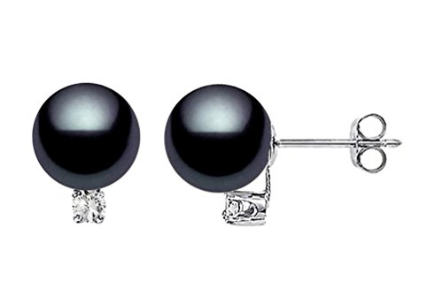 14k White Gold AAAA Quality Black Akoya Cultured Pearl Diamond Stud Earrings (6.5-7mm)