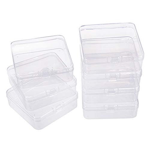 BENECREAT 10 Pack 3.22x3.22x1.1 Square Clear Plastic Bead Storage Containers Box Drawer Organizers with lid for Items,Earplugs,Pills,Tiny Bead,Jewelry Findings