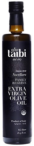 "Award-Winning Extra Virgin Olive Oil, 100% Organic Certified, Monocultivar ""Nocellara"", Single Sourced Sicily, Italy, High Polyphenols, Unrefined, October 2016 Harvest, Large 16.9 Fl Oz - Olio Taibi"