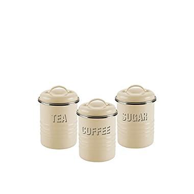 Typhoon Vintage Kit Tea/Coffee/Sugar Canisters, Cream, Set of 3