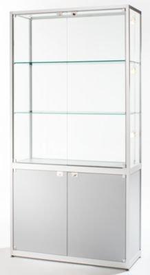Glasvitrine mit Unterschrank - Standvitrine, HxBxT 2000 x 800 x 400 mm silber eloxiert - Ausstellungsvitrine Glasvitrine Präsentation Schaukasten Sortimentskasten Standvitrine Vitrine Vitrinenschrank Vitrinenschränke