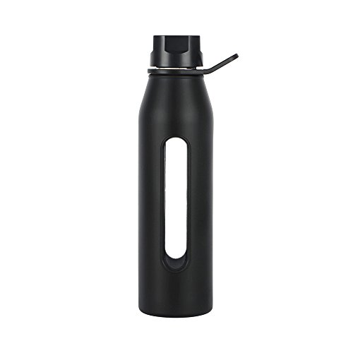 Takeya Classic Glass Water Bottle with Silicone Sleeve and Twist Cap, 22 Ounce, Black