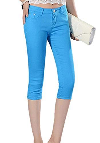 Blau 30 Corto Capri Vita Pantaloni A Giovane Da Slim Unita Casual 4 Tinta Jeans color Bottone 3 1 Size Donna Fit Bassa pU1gFxq