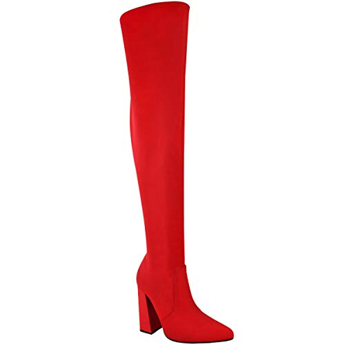 Fashion Thirsty Womens Thigh High Stretch Lycra Boots Over The Knee High Heels Size (5 US, Red Lycra/Pointed Toe)