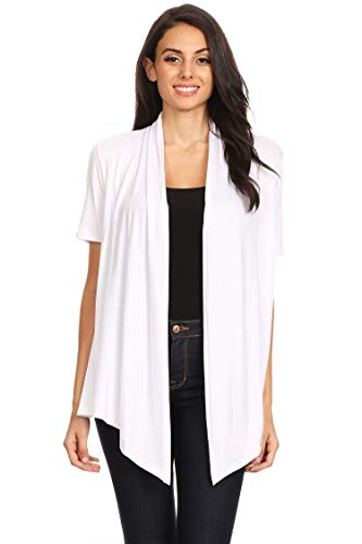 (Solid Print Casual Comfy Short Sleeves Open Front Draped Cardigan/Made in USA White M)