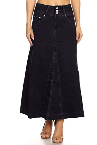 Women's Juniors High Rise A-Line Long Jeans Maxi Flared Denim Skirt in Black Size XL