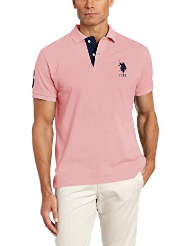 U.S. Polo Assn. Men's Short-Sleeve Polo Shirt with Applique, Pink Sunset Heather, ()