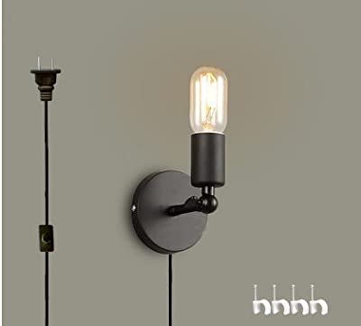Kiven wall lamp 1-Light Plug-In UL LISTED bulb included Black Metal Industrial Wall Sconce 6 Foot Black Cord(BD0221)