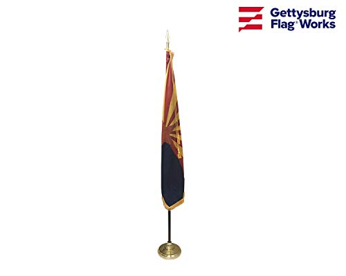 3x5' Arizona Flag Indoor Flag Set, Includes Indoor Flag, Base, Pole, Spear Finial and Decorative Cord and Tassel ()