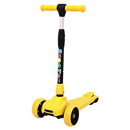Zhicaikeji Tretroller Kind 3 Rad Tretroller Roller Kinder Dreirad Roller mit Bremse Bremse Hinterradbremse beliebte Montage unnötig höhenverstellbar faltbar für Kinder Für Kindergeschenke Gelb
