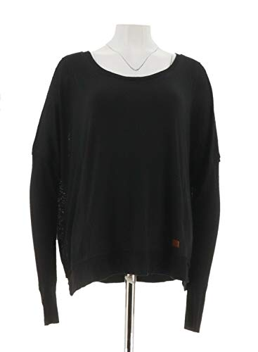 Peace Love World Mixed Texture Relaxed Knit Top Long SLVS Black L New A294413