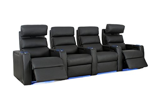 Dream HR - Octane Seating - Home Theater Seats - Black Top Grain Leather - Power Recline - Row of 4 by Octane Seating