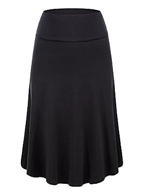 KIRA Womens Fold Over Waist Knee Length A-Line Flared Midi Skirt