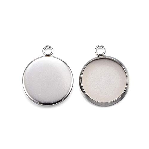 (Kissitty 100Pcs Stainless Steel Blank Bezel Cameo Flat Round Tray Pendant Cabochon Settings 12mm for DIY Photo Charm Jewelry Craft Making)