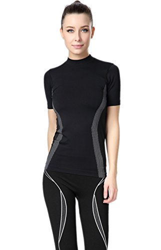 Tiheen Womens Tight-Fitting Athletic Yoga Stretchy Compression Top T-Shirt (FBA)