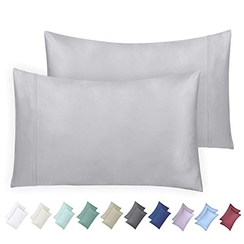 Paisley Cotton Pillowcase (California Design Den 600 Thread Count Pillowcase Set of 2, 100% Long-Staple Combed Cotton, Breathable, Soft Sateen Weave Luxury Hotel Quality Pillow Cases (King, Light Grey))
