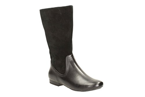 Clarks Mountain Mist Leather Boots For Women Black Black AhjWqF9Jh
