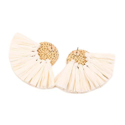 Jonerytime❤️Bohemian Rattan Handmade Raffia Geometric Round Earrings Ladies Jewelry (Beige)