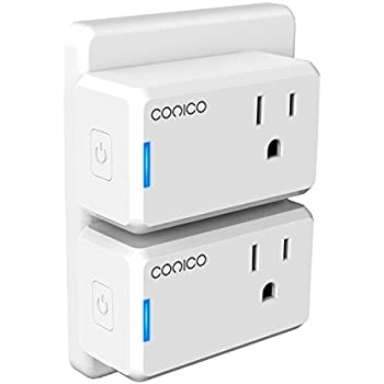 WiFi Smart Plug, Conico Mini Smart Ourtlet Wireless Remote Control Outlet Timer, No Hub Required, Compatible with Alexa, Voice Controlled by Echo, Plug Control Switch Smart Home Device (2 Pack)
