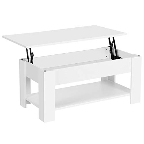 Yaheetech Lift Top Coffee Table w/Hidden Storage Compartment and Storage Shelf - Lift Tabletop for Living Room Reception Room, White
