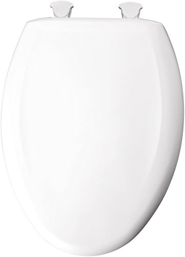 (Mayfair Slow-Close Plastic Toilet Seat featuring Easy Clean & Change Hinges and STA-TITE Seat Fastening System, Elongated, White, 120SLOWE 000)