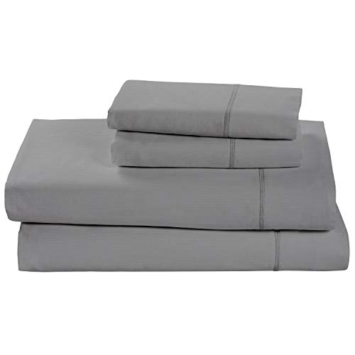 Rivet Soft 100% Percale Cotton Bed Sheet Set, Easy Care, California King, Pewter