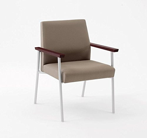 Lesro Mystic Guest Chair 400 lb. Capacity with Mahogany Wood Armrests, White Frame, Core Burst Fabric