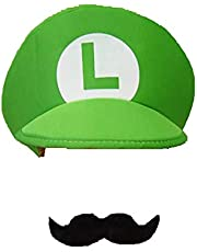 Super Mario Luigi Brothers Adult Mens Womens Kids Cap Costume Hat Moustache (One size)