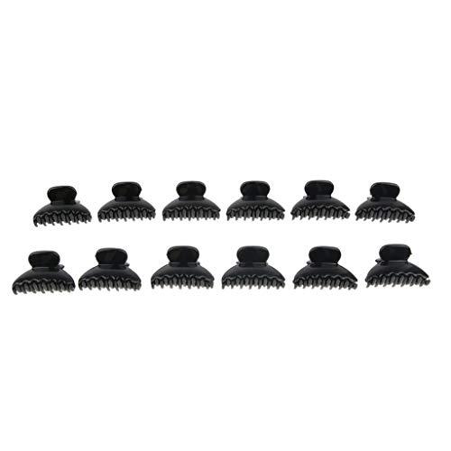 Pack of 12pcs Black Mini Plastic Bulldog Hair Claw Clamp Bangs Clips Fashion