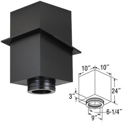 """Class A Chimney Pipe Square Ceiling Support Box - 6 x 24"""""""