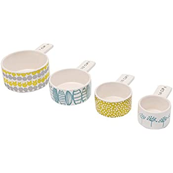 C.R. Gibson Ceramic Measuring Cup Set, By Lotta Jansdotter, Vintage Inspired Design Features One of Each: 1 cup, 1/2 cup, 1/3 cup and 1/4 cup - Fresh