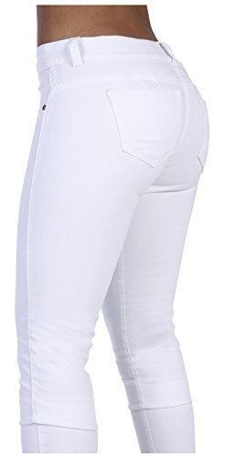 Curvify Stretch Butt Lifting Skinny White Jeans | Pantalones Levantacola (600,White,15)