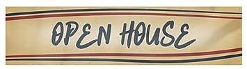 Open House Nostalgia Stripes Heavy-Duty Outdoor Vinyl Banner 16x4 CGSignLab