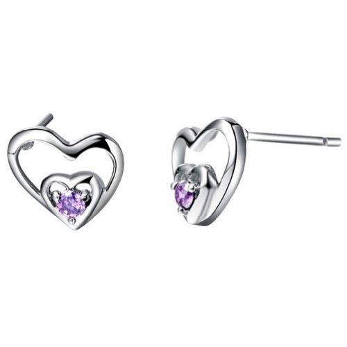 GT-DESIGN Romantic Love Heart White/Purple Crystal Stone 925 Sterling Silver Stud Earrings CZ Zircon (Blue)