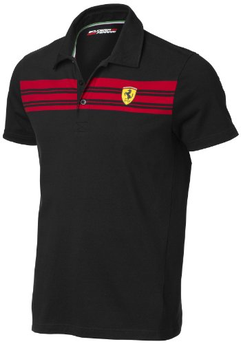 Ferrari Black X-Small Striped Polo Shirt