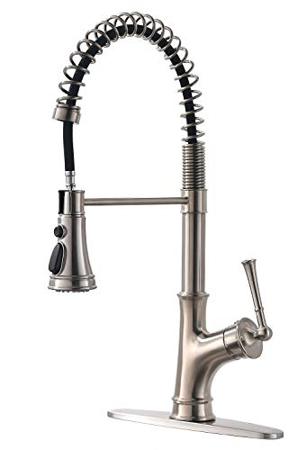 APPASO Commercial Spring Kitchen Faucet with Pull Down Sprayer Brushed Nickel, Single Handle One Hole High Arc Stainless Steel Kitchen Sink Faucet with Deck Plate ()