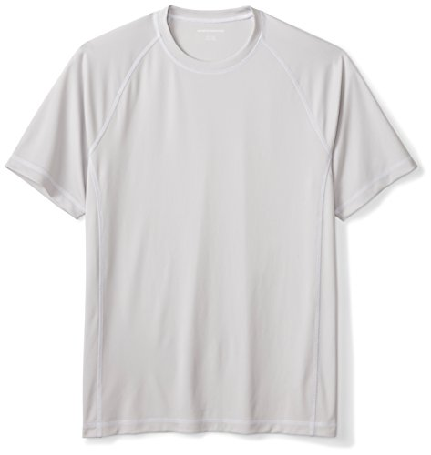 Amazon Essentials Men's Short-Sleeve Quick-Dry UPF 50 Swim Tee, Silver, Large