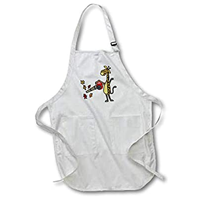 3dRose All Smiles Art - Funny - Cute Funny Unique Giraffe Using Leaf Blower Cartoon - Aprons