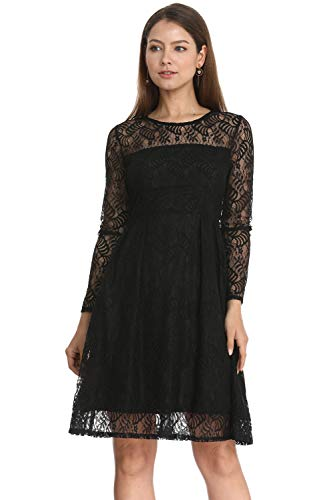 Women Elegant Long Sleeve A Line Party Cocktail Formal Swing Lace Dress with Lining (Black, L)