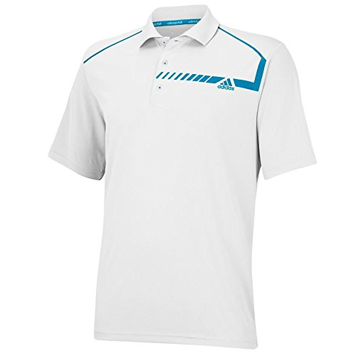 adidas Golf Men's Climachill Chest Print Polo, White/Solar Blue, Small