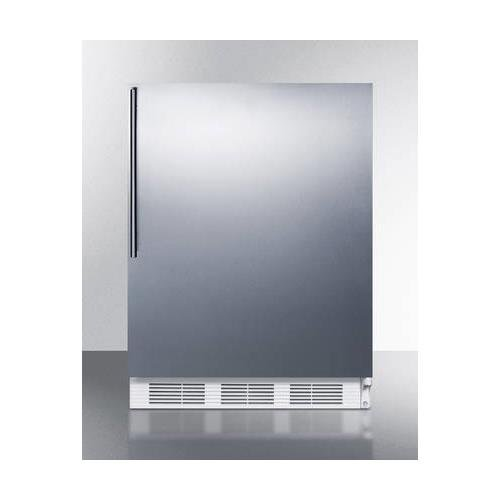 "AccuCold ALB751SSHV 24"""" Wide 5.5 Cu. Ft. Built-In Undercounter All Refrigerator with Automatic Defrost Deep Shelf Space Hidden Evaporator and Adjustable Thermostat in Stainless Steel"