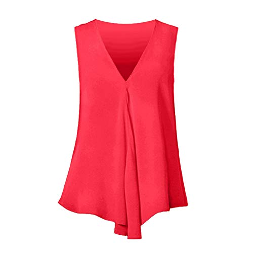 Women Chiffon Blouses Sexy Sleeveless V Neck Shirt Summer Ladies Tees Tops Blusass,Red,XL