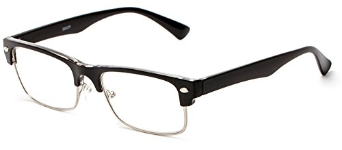 Readers.com The Dickens +2.00 Black Classic and Simple Browline with Narrow Lenses Reading Glasses (Dickens Dress)
