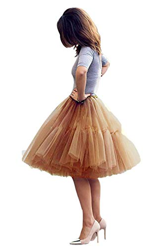 Tulle Skirt,Women's Midi Tulle Tutu Skirt Fluffy Princess Five Layers A line Party Prom Underskirt (Gold, Waist:65cm-95cm) -