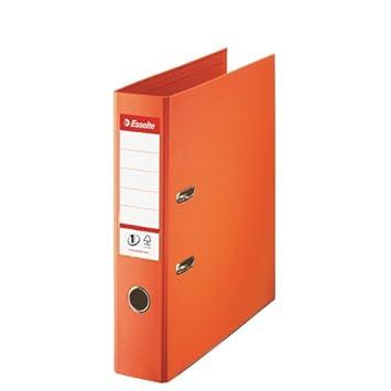 Leitz 811340 - Archivador plástico con anillas A4 color naranja: Amazon.es: Oficina y papelería